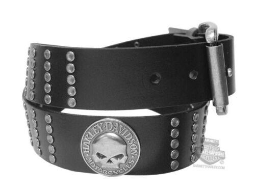 Harley-Davidson Mens Hammered Stud Willie G Skull Black Genuine Leather Belt