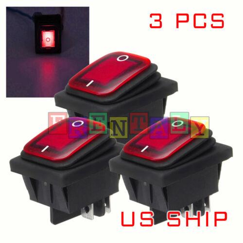 3X K2 Red LED 4Pin Waterproof 12V 20A Bar Rocker Toggle Switch LED Light Car