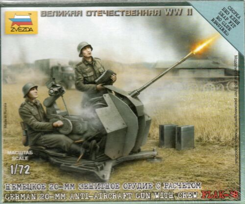 German 20mm FLAK-38 Anti Aircraft Gun with Crew Z6117 Zvezda 1//72 Figures