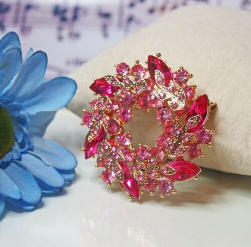 Wreath Brooch Vintage Inspired Sparkling