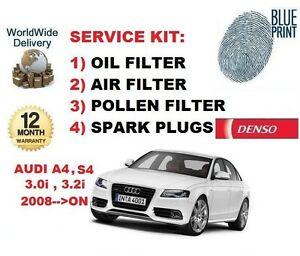 FOR AUDI A4 S4 3.0 3.2 2008 >ON OIL AIR POLLEN FILTER + SPARK PLUGS SERVICE KIT