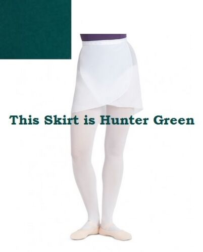 Capezio 272C Hunter Green Girl/'s One Size Fits Most Georgette Wrap Skirt