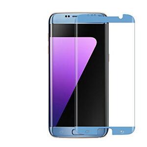 Premium Tempered Glass Screen Protector Samsung Galaxy S7 EDGE Anti-Scratch BLUE