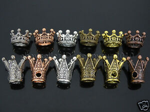 Solid-Metal-King-amp-Queen-Crown-Big-Hole-Bracelet-Connector-Charm-Beads-Findings