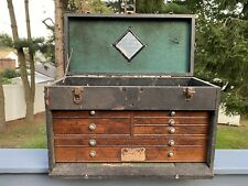 Vintage Oak Wood Leather Gerstner Amp Sons Machinest Tool Chest 7 Draw Box