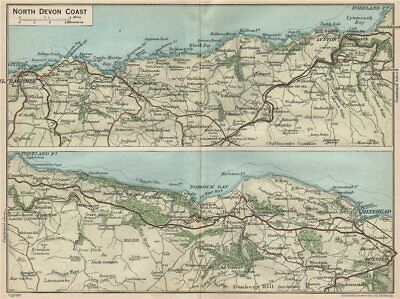 Steady North Devon Coast Vintage Map Plan 1930 Old Goods Of Every Description Are Available Ilfracombe-lynton-minehead