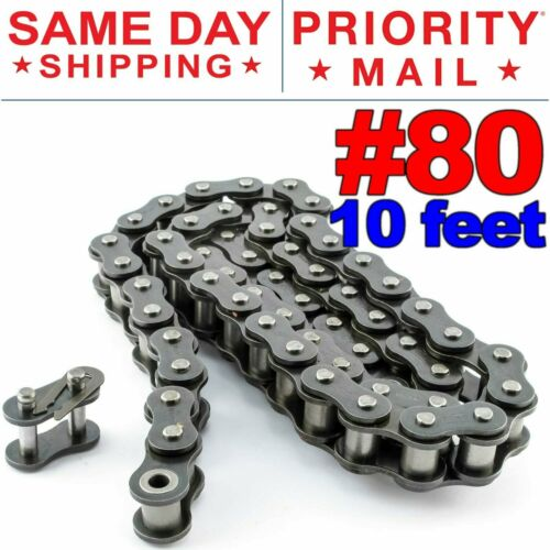 Free Connecting Link Same Day Expedited Shipping #80 Roller Chain x 10 feet
