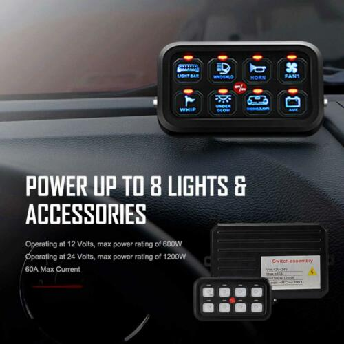 8 Gang ON-OFF Switch Panel Electronic Relay Set For Jeep Wrangler JL 2018 2019
