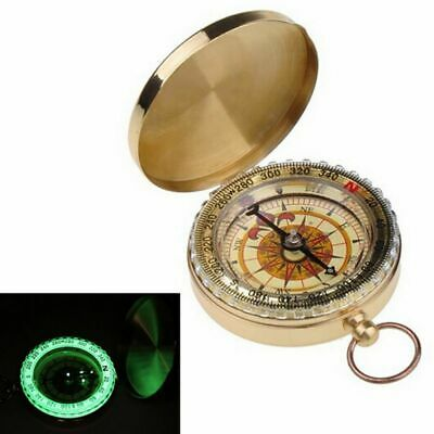 Old Nautical Pocket Necklace Vintage Brass Dalvey Style Compass with Lid