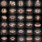 18K Rose Gold Filled Wedding Gemstone Jewelry Topaz Engagement Ring Size 5-9