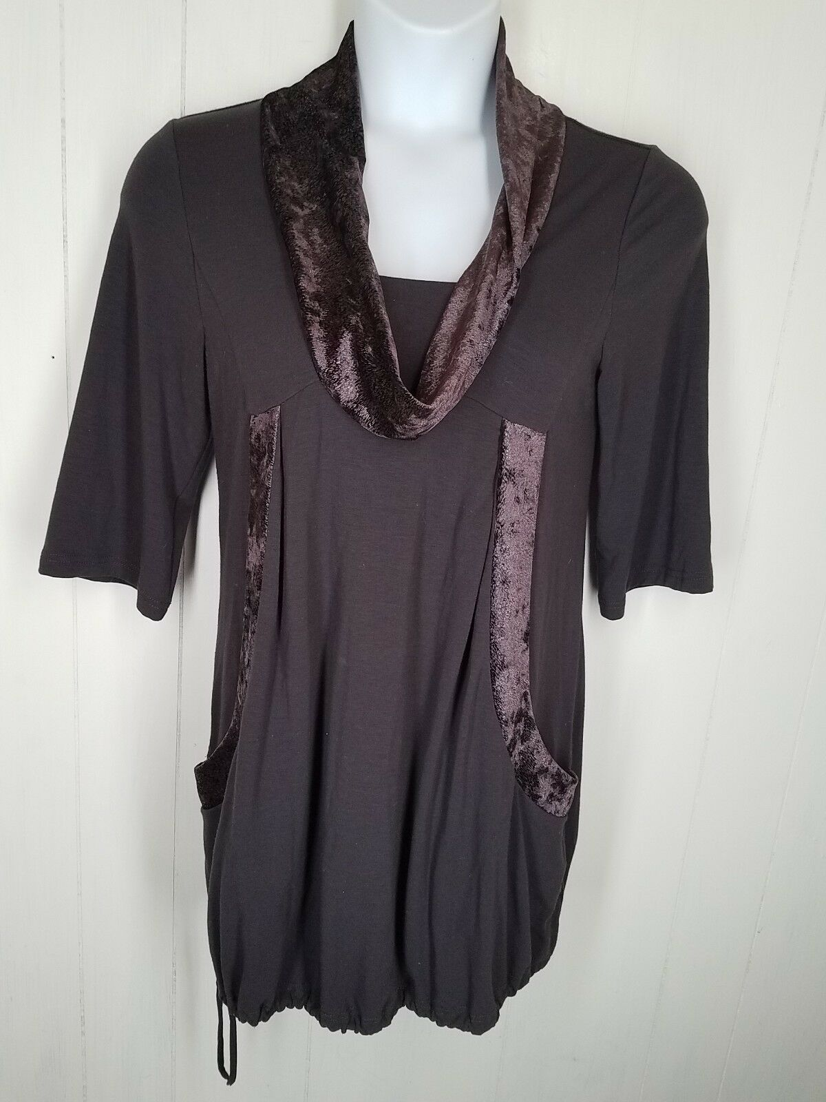 Tracy Porter Tunic top  size 4-6 purple 3 4 sleeve cowl