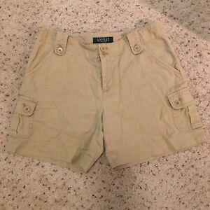 Lauren-Ralph-Lauren-Women-s-Cargo-Shorts-Khaki-Beige-Size-2P-Linen-Cotton