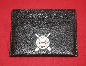 COACH-MEN-039-S-SLIM-CARD-CASE-W-BASEBALL-PATCH-BLACK-PEBBLED-LEATHER-6-CARD-SLOTS