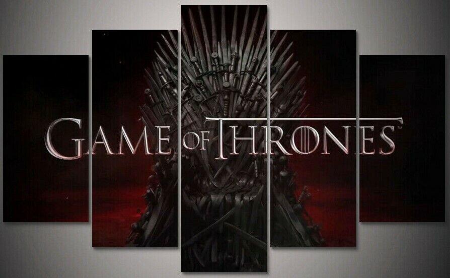 Game of Thrones Daenerys Targaryen Jon Snow Ned Stark 5 Piece Canvas Art Print