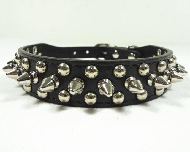 Black Leather Collar Rivet Spiked Studded Pet Dog Collar XS S M L Small Medium