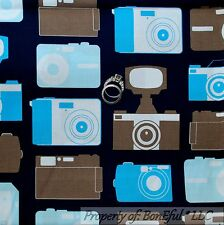 BonEful Fabric FQ Cotton Quilt Navy Blue Brown Photography VTG CAMERA SLR Dot Lg