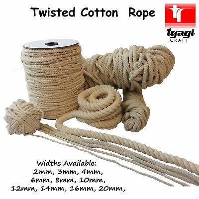 100/% naturel pur non traités Cotton Rope 3 Strand Twisted Corde Cordon Ficelle écharpe
