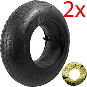 2 X WHEELBARROW WHEEL INNER TUBE AND BARROW TYRE 3.50 - 8 RUBBER INNERTUBE 30PSI