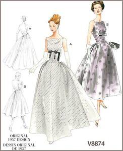 size 40 627ba 28556 Dettagli su V8874 Cartamodello Formale Sposa Eleganti Vintage 594ms Abito  Vestito Oop