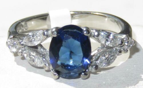 Ladies sapphire ring oval cz blue stainless steel silver dress 1 carat  1764