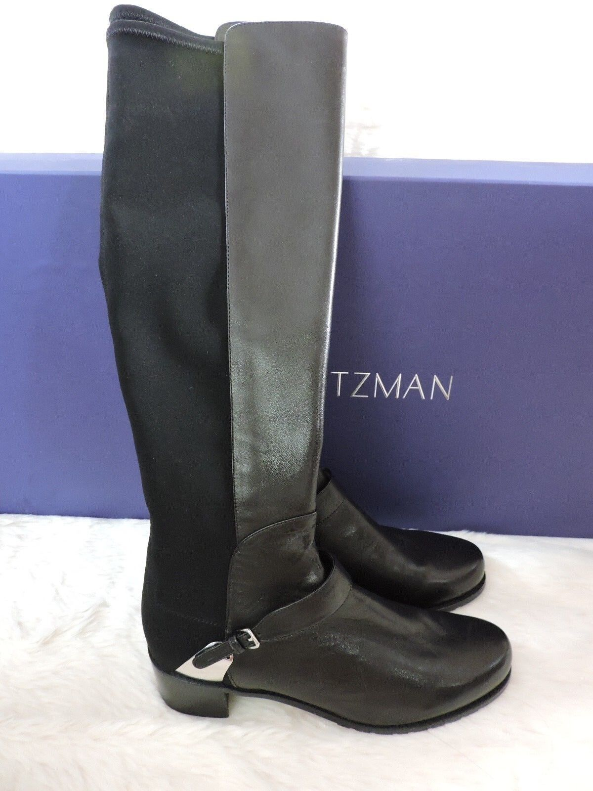NEW $695 STUART WEITZMAN CABALLER 5050 50/50 STRETCH LEATHER BOOT BLACK 8.5