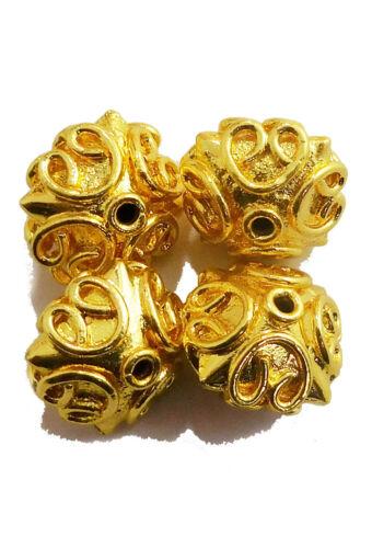 Cobre 5PCS 15x12MM grano de Bali Antiqued Chapado en Plata de ley chapado en oro 18K 13