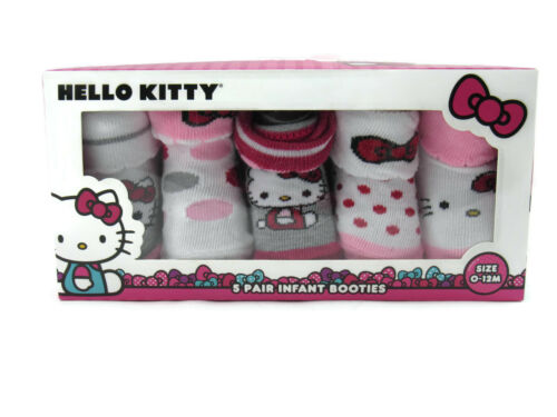 Hello Kitty 5 Pairs Infant Baby Girl/'s Booties Socks Gift Box Size 0-12 Months