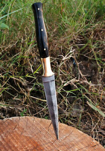 Custom Handmade Forged DAMASCUS STEEL BOOT DaGGER HUNTING KNIFE Double Edge