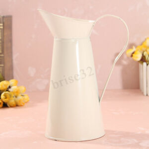 Vintage-Shabby-Chic-Cream-Vase-Enamel-Pitcher-Jug-Pot-Tall-Wedding-Metal-Decor
