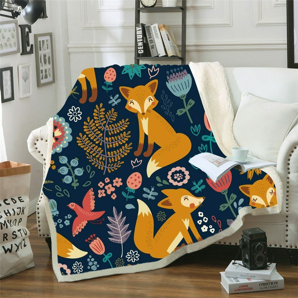 Floral Fox Animal Paisley Leave Sherpa Plush Throw Blanket Fleece Bed Sofa Couch