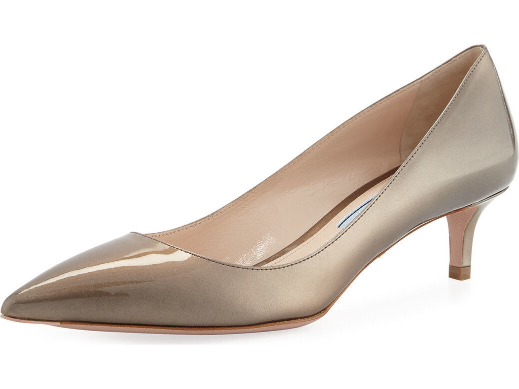 Prada Pearlescent Patent Pointed-Toe 45mm Pump MSRP   595 Size 40