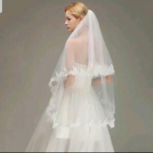 UK-White-Ivory-2-Tier-Bridal-Fingertip-Length-Wedding-Veil-Lace-Edge-With-Comb