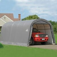 Shelterlogic Garage-in-a-box 12x20x8 Ft. Roundtop Instant Garage- Gray 62780