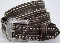 Nocona Belts Men's Western Accessories Nailhead Tooled Brown Leather Belt 46