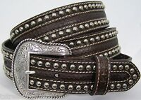Nocona Belts Men's Western Accessories Nailhead Tooled Brown Leather Belt 42
