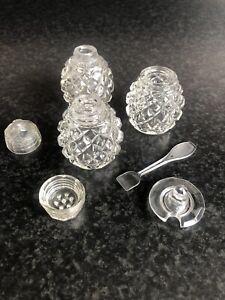 Vintage-Cut-Glass-Salt-Pepper-Mustard-Condiment-Cruet-Set