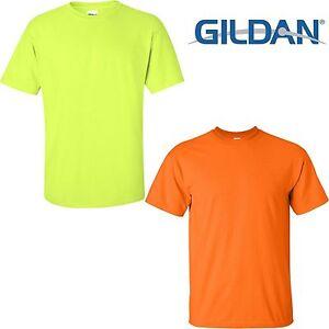 e0863319 Gildan Ultra Cotton Safety Green Safety Orange ANSI High Visibility ...