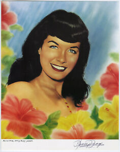 Bettie-Page-Portrait-Pin-Up-Color-Lithograph-NOS-Hand-Signed-by-Bunny-Yeager
