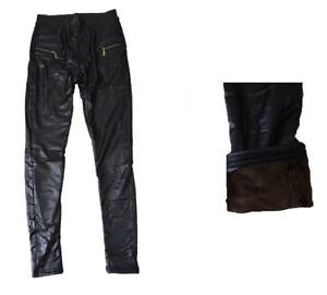 Damen-Lederhose-Neu-Damen-Thermohose-BIS-2XL-Damen-Thermoleggings-Leggings