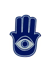 patch ecusson brode thermocollant main de fathma fatima khamsa oeil bleu turque