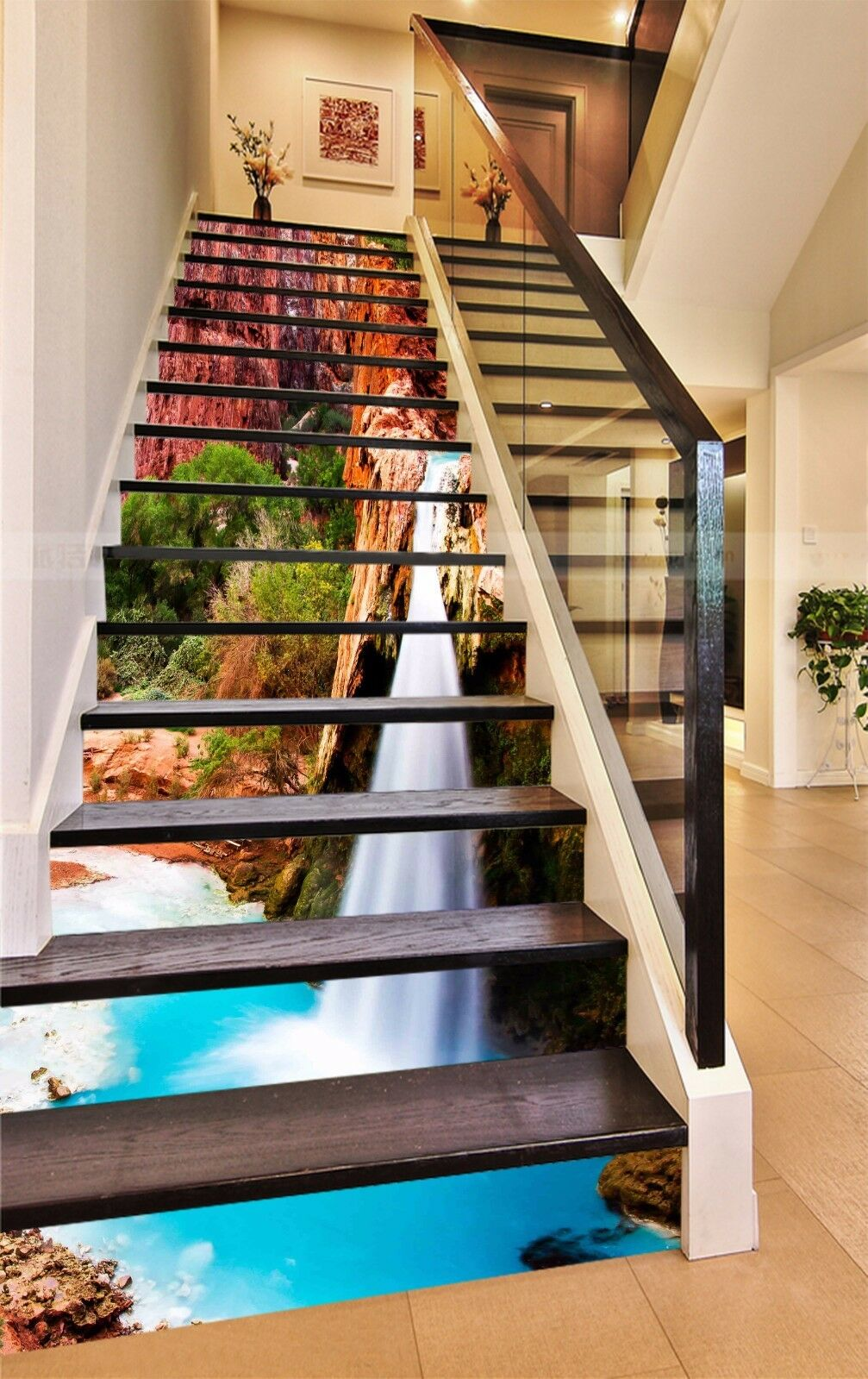 3D Canyon River 827 Stair Risers Decoration Photo Mural Vinyl Decal Wallpaper AU