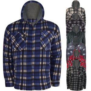 Fleece-Sherpa-Lined-Hooded-Padded-Lumberjack-Shirt-Jacket-Fur-Winter-Warm-M-5XL