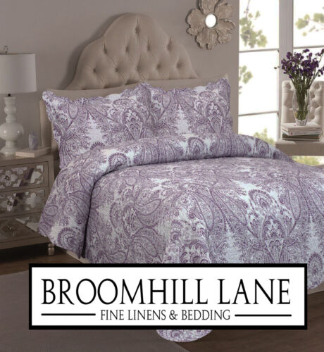 New! SINGLE SET Luxury 100% Cotton Bedspread Purple White Toile French Vintage