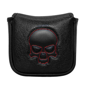 New-Black-Skull-Square-Mallet-Putter-Cover-Headcover-Magnetic-Protect-Golf-Clubs