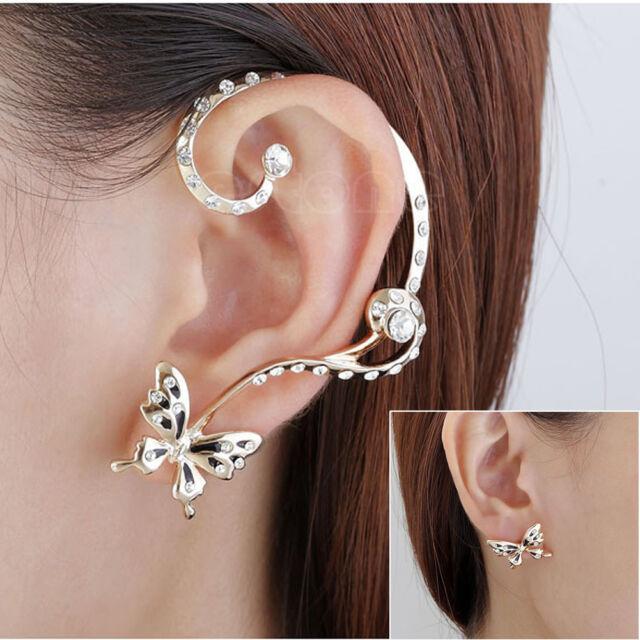 1 Pair Modish Nice Women Butterfly Ear Cuff Clip Stud Crystal Rhinestone Earring