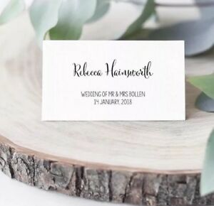 Details About Wedding Name Place Cards Tent Custom Printed Placecards Table
