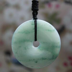 Natural Genuine A Jadeite Jade  Light  Green Lavender Donuts Pendant