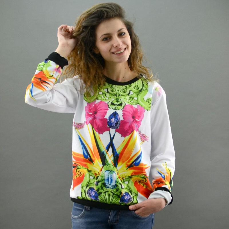 Shop Art Frauen Sweatshirt ADORAGE weiß/grün Mod. Adorage