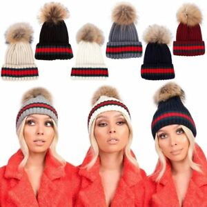 01f22df26 Details about New Detachable Real Fur Pom Pom Green Red Stripe Ladies  Beanie Bobble Hat
