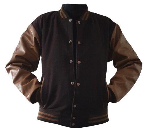 ORIGINALE Giacca College Windhound marrone con marrone vera pelle maniche XL
